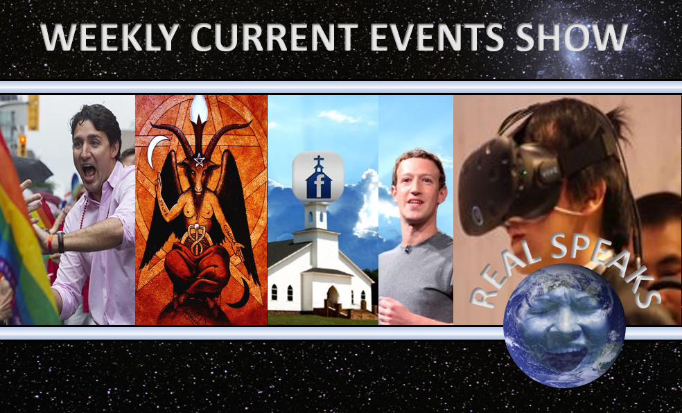 Facebook church, Virtual Reality Weddings in Japan, Genetic Mutation, Transmania, Global Warming Hoax on this weeks Real Speaks Current Events Show.