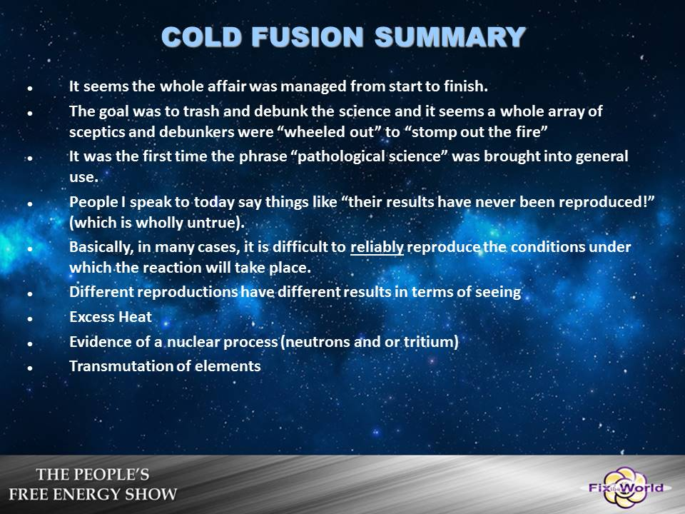 cold fusion summary