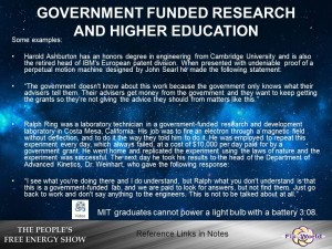 government funded research and higher education free energy